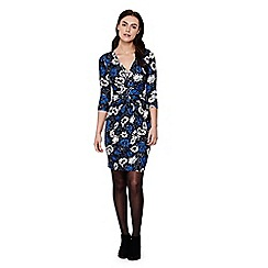 Yumi - Blue  Dress With Floral Print