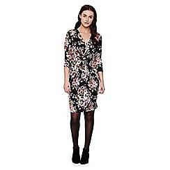 Yumi - Black Floral Knit Jersey Dress