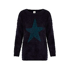 Yumi - Blue star print fluffy jumper