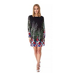 Yumi - Black Tree and Floral Print Tunic Dress