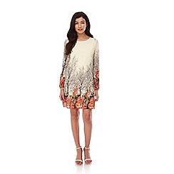 Yumi - Cream Ditsy Blossom Print Tunic Dress
