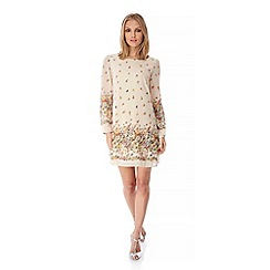 Yumi - Cream Floral Cascade Print Tunic Dress