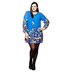 Yumi Curves - blue Floral Tunic Dress