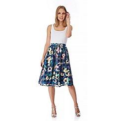 Yumi - Blue Floral Check Print Midi Skirt