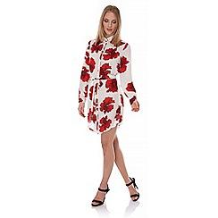 Yumi - Ivory Poppy Print Shirt Dress