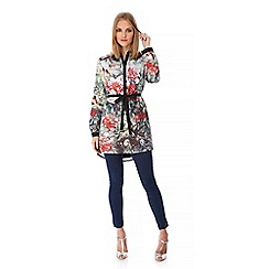 Yumi - Multicoloured  Bird and Floral Print Shirt Dress