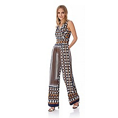 Yumi - Multicoloured  70s Geo Print Jumpsuit