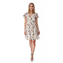 Yumi - White 70s Floral Print Tea Dress