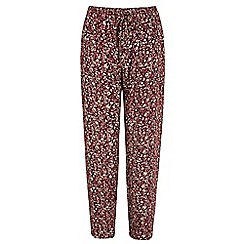 Yumi - Red Ditsy Vintage Floral Print Trousers
