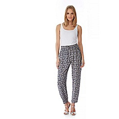 Yumi - Blue Ditsy Floral Print Trousers