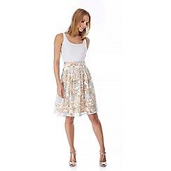 Yumi - Cream Floral Burnout Midi Skirt