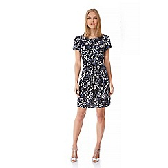 Yumi - Black Monochrome Floral Print Day Dress
