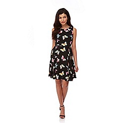 Yumi - Black Butterfly Print Tie Skater Dress