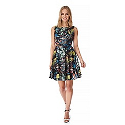 Yumi - Multicoloured  Woodland Bird Print Day Dress