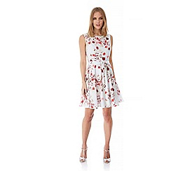 Yumi - White Rose Print Occasion Dress