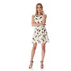 Yumi - Cream Bird Print Skater Dress