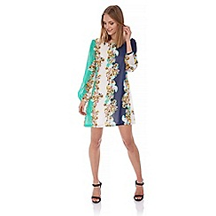 Yumi - Multicoloured  Floral Print Contrast Tunic Dress