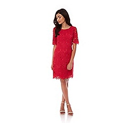 Yumi - Red Floral Lace Occasion Dress