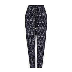 Yumi - Black Ditsy Floral Print Trousers