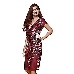 Yumi - Red Butterfly Print Wrap Dress