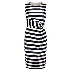 Yumi - Blue Stripe Print Sideknot Day Dress