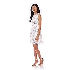 Yumi - White Swallow Bird Print Day Dress