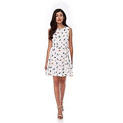 Yumi - White Dragonfly Print Skater Dress