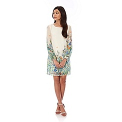 Yumi - Ivory Butterfly Floral Print Tunic Dress
