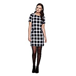 Yumi - Blue Check Short Sleeve Shift Dress