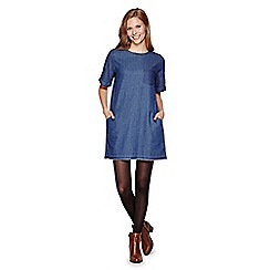 Yumi - Blue  Denim Short Sleeved Shift Dress