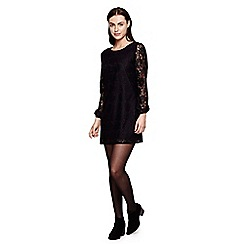 Yumi - black Floral Lace  Shift Dress