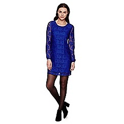 Yumi - blue Floral Lace  Shift Dress