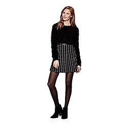 Yumi - black Checked Skirt With Belt
