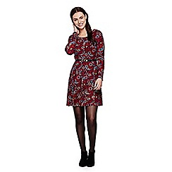 Yumi - Red  Bird Printed Shirt With Zip Front
