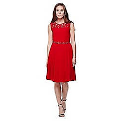 Yumi - red Diamante and Lace  Party Dress