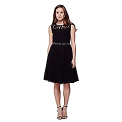 Yumi - black Diamante and Lace  Party Dress