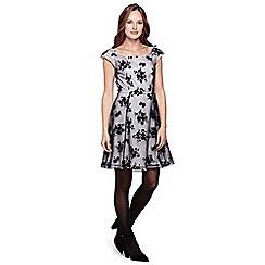 Yumi - black Floral Felt Print Occasion Dress