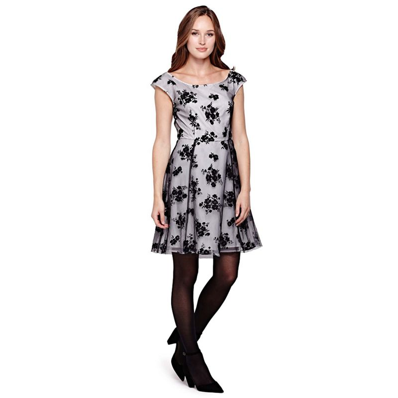 Yumi black Floral Felt Print Occasion Dress