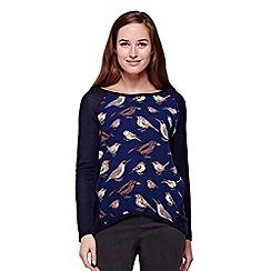 Yumi - blue  Bird Print Long Sleeved Top