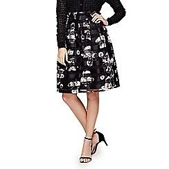 Yumi - black StripedFlower Organza Occasion Skirt