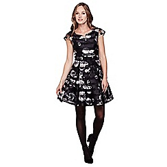 Yumi - black StripedFlower Organza Occasion Dress