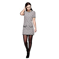 Yumi - grey Knitted Jersey Dress With Short Sleeves