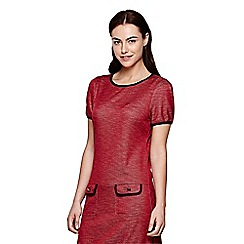 Yumi - red Knitted Jersey Dress With Short Sleeves