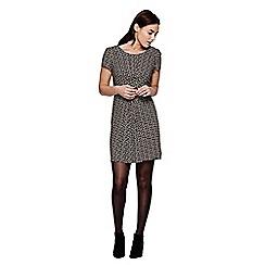 Yumi - black  Short Sleeved Crane Print Dress