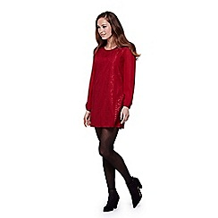Yumi - red Floral Lace Long Sleeve Shift Dress