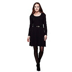 Yumi - Black  Long Sleeved Knit Belt Dress
