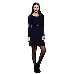 Yumi - Blue  Long Sleeved Knit Belt Dress