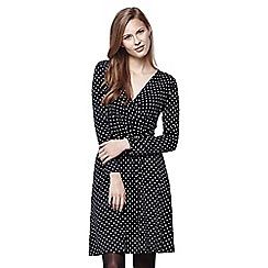 Yumi - Blue Spot Jersey Wrap Dress