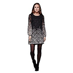 Yumi - Black Shift Dress With Floral Spot Lace