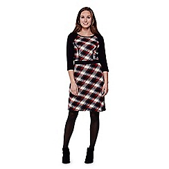 Yumi - Red  Knit Dress With Check Print